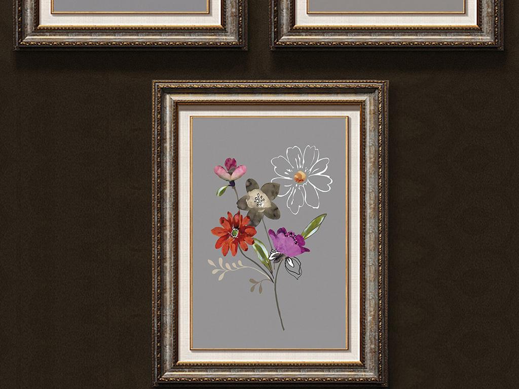 灰地盛开白色小花装饰画