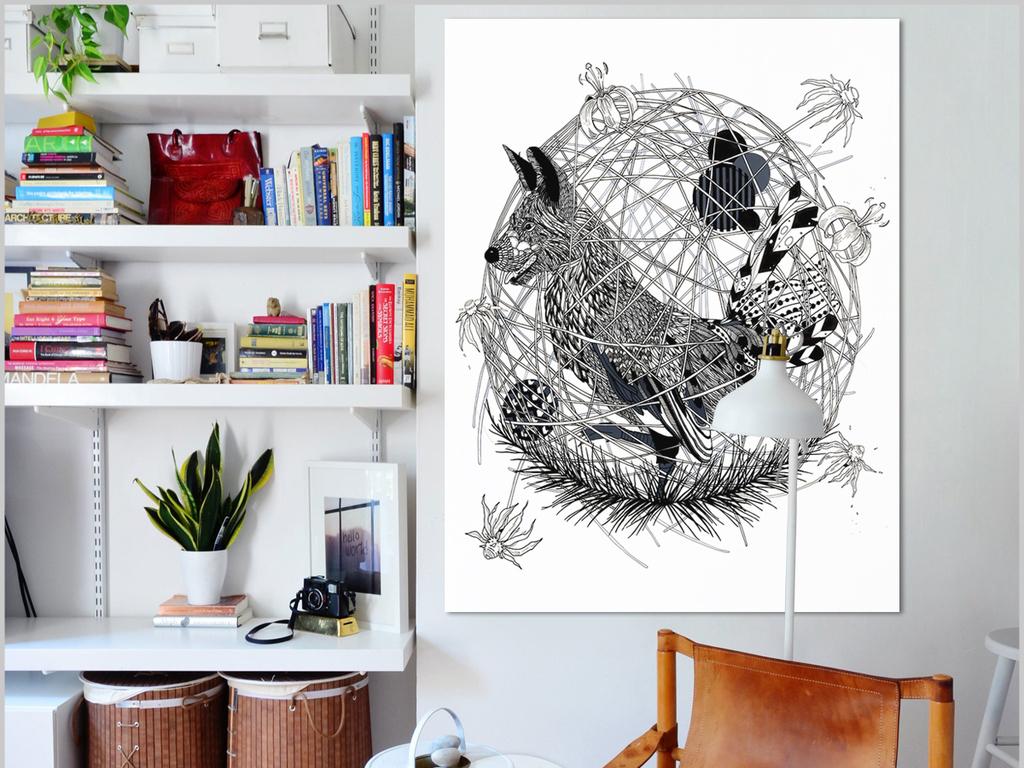 现代简约北欧手绘几何动物装饰画无框画