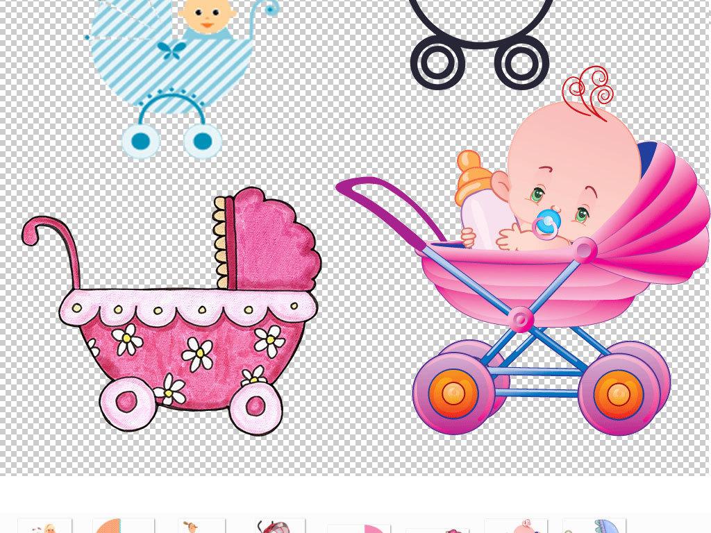 手绘婴儿母婴素材设计元素广告设计ps海报素材元素婴儿车卡通元素卡通