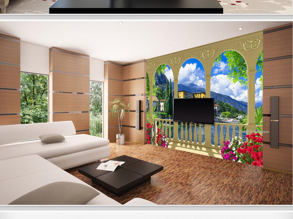 蓝天白云风景3d背景欧式背景花园阳台阳台风景电视