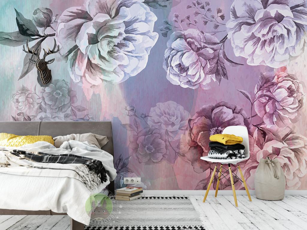 欧式复古手绘花朵背景墙