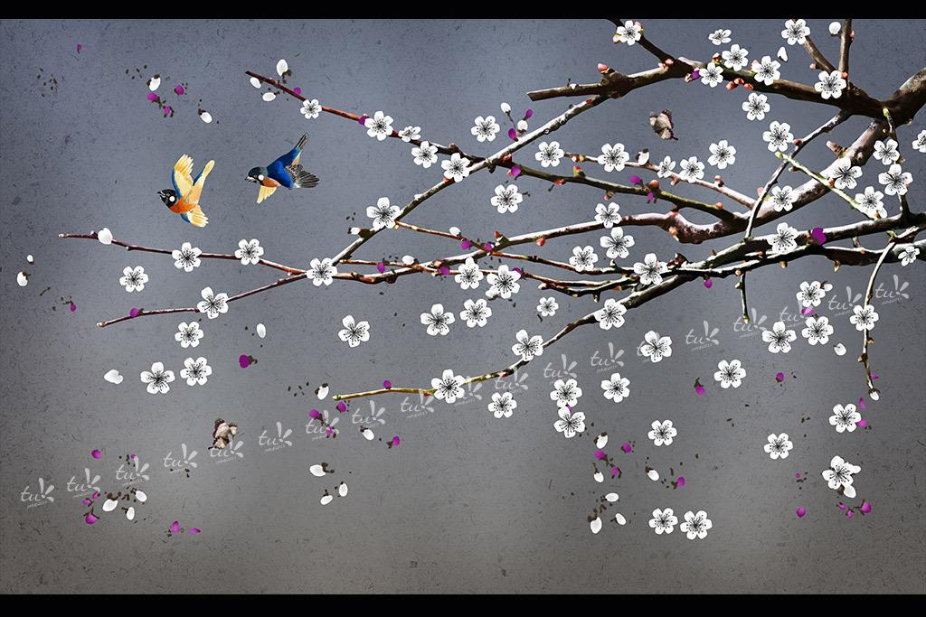 手绘现代工笔花鸟梅花背景墙装饰画