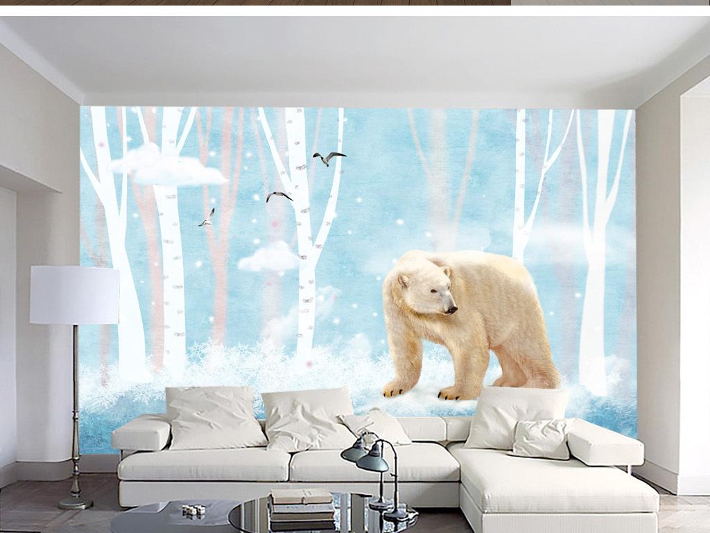 手绘北欧树木熊简约风背景墙装饰画