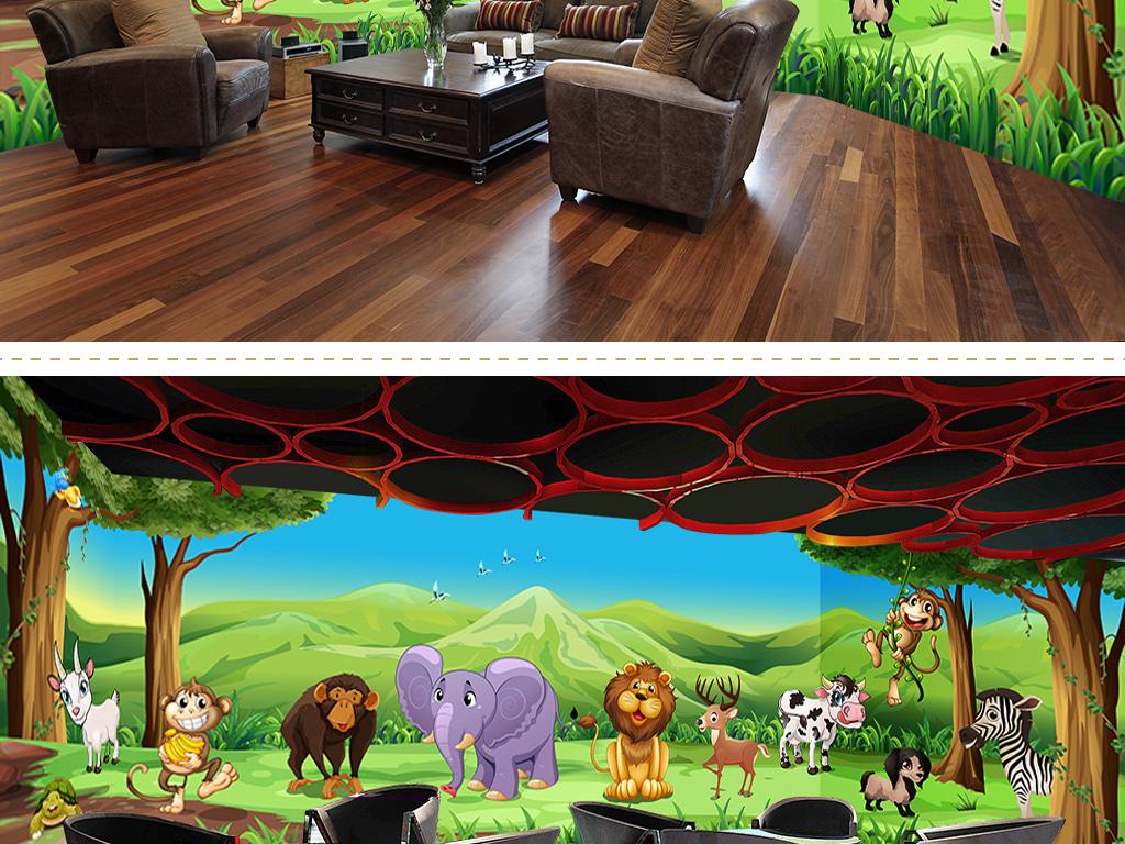 设计作品简介: 动物乐园主题空间全屋背景墙