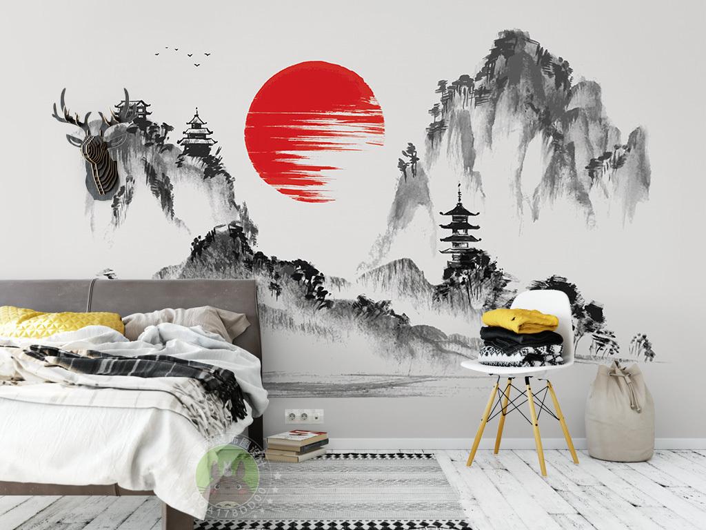 新中式山水风景水墨背景墙装饰画图片