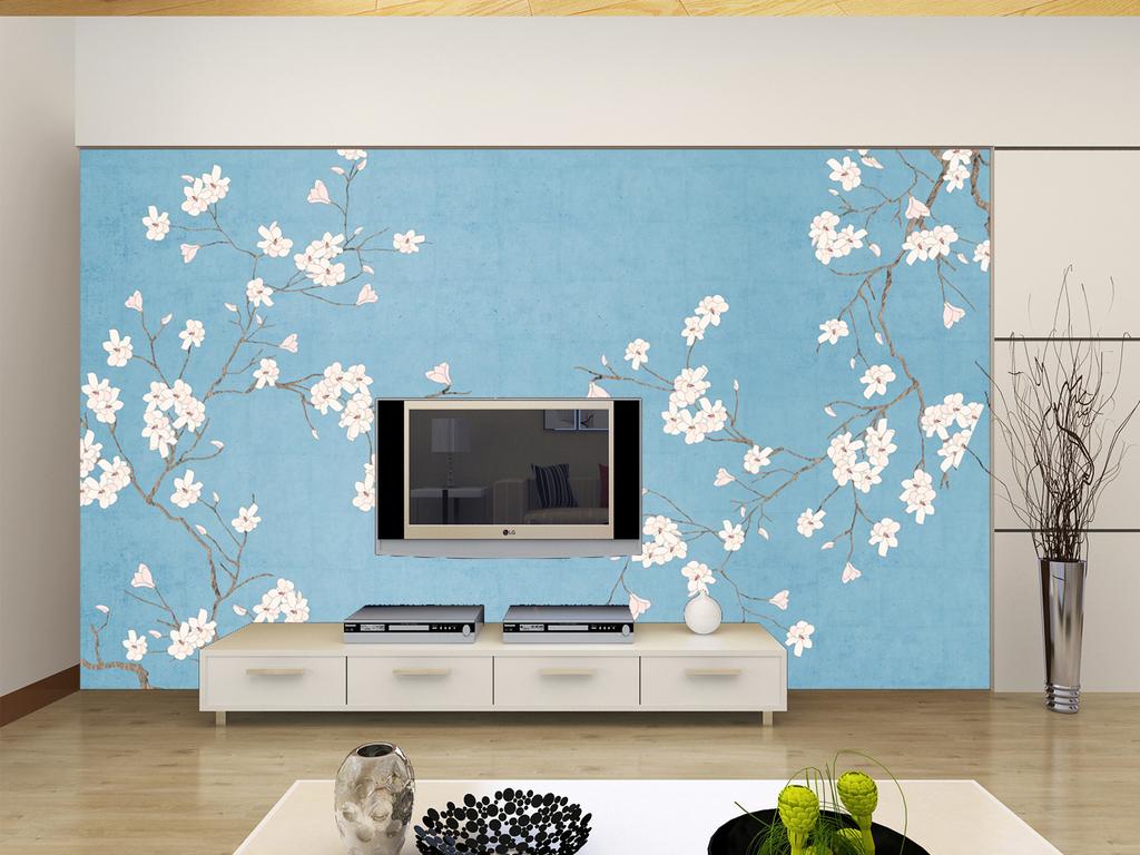 高清手绘花鸟工笔画背景墙