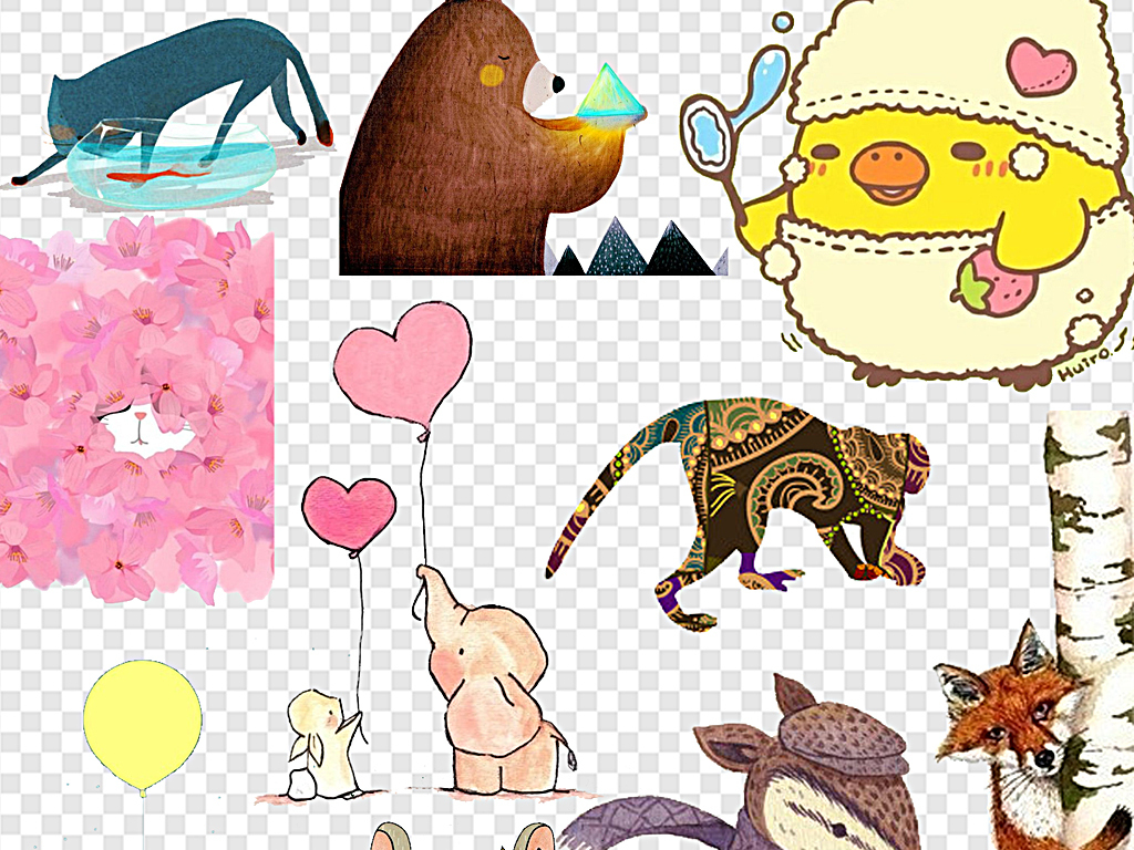 森系小动物可爱小动物大自然卡通