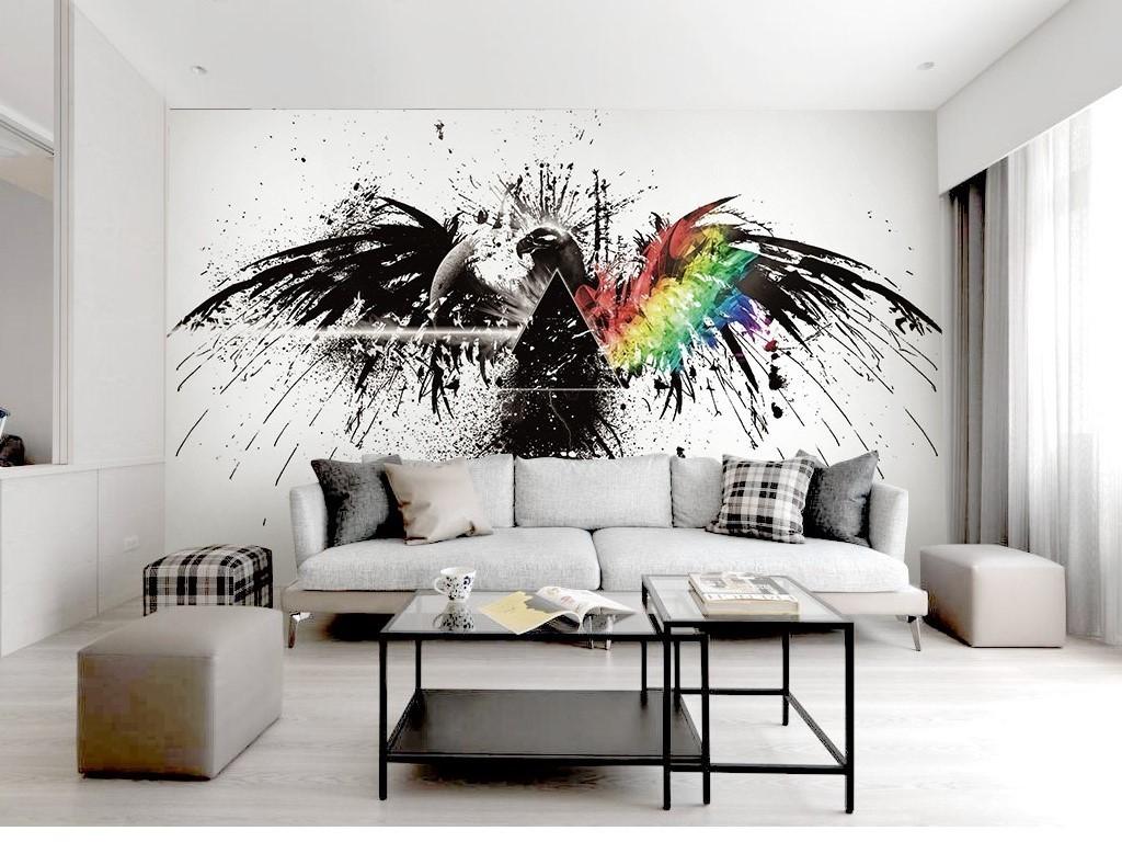 时尚大鹏展翅飞鸟黑白翅膀北欧电视背景墙图片