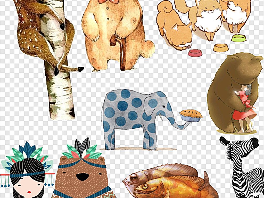 森系小动物大自然小动物创意卡通动物卡通创意动物动物创意卡通创意