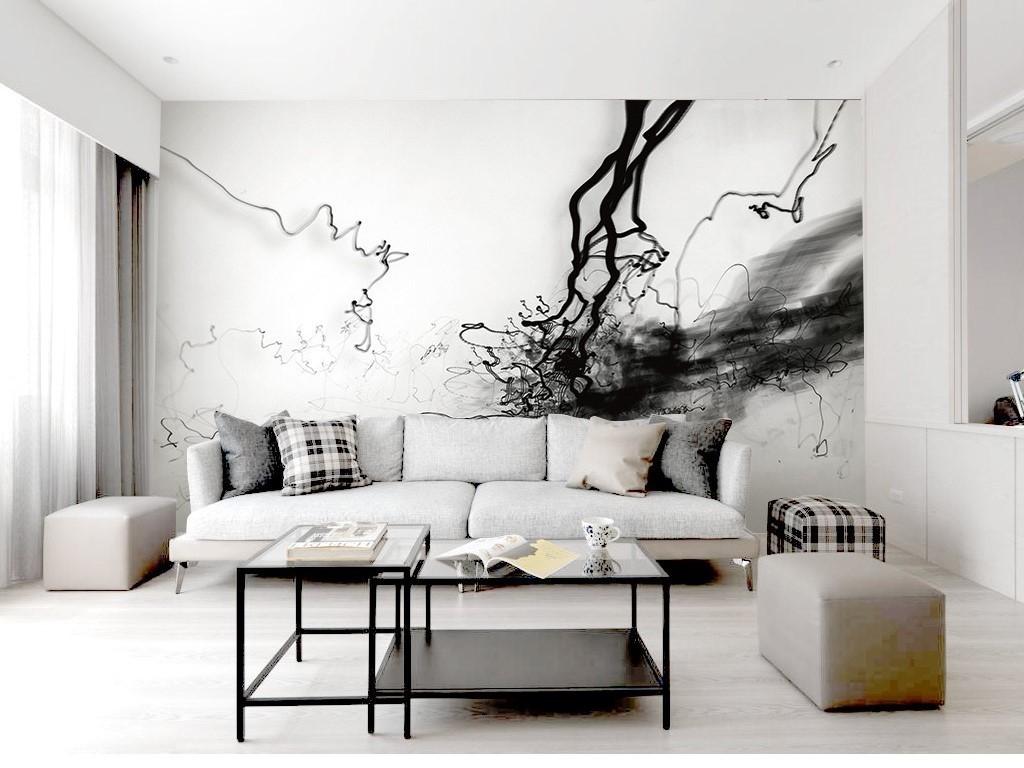 黑白创意现代简约北欧风格烟雾电视背景墙图片