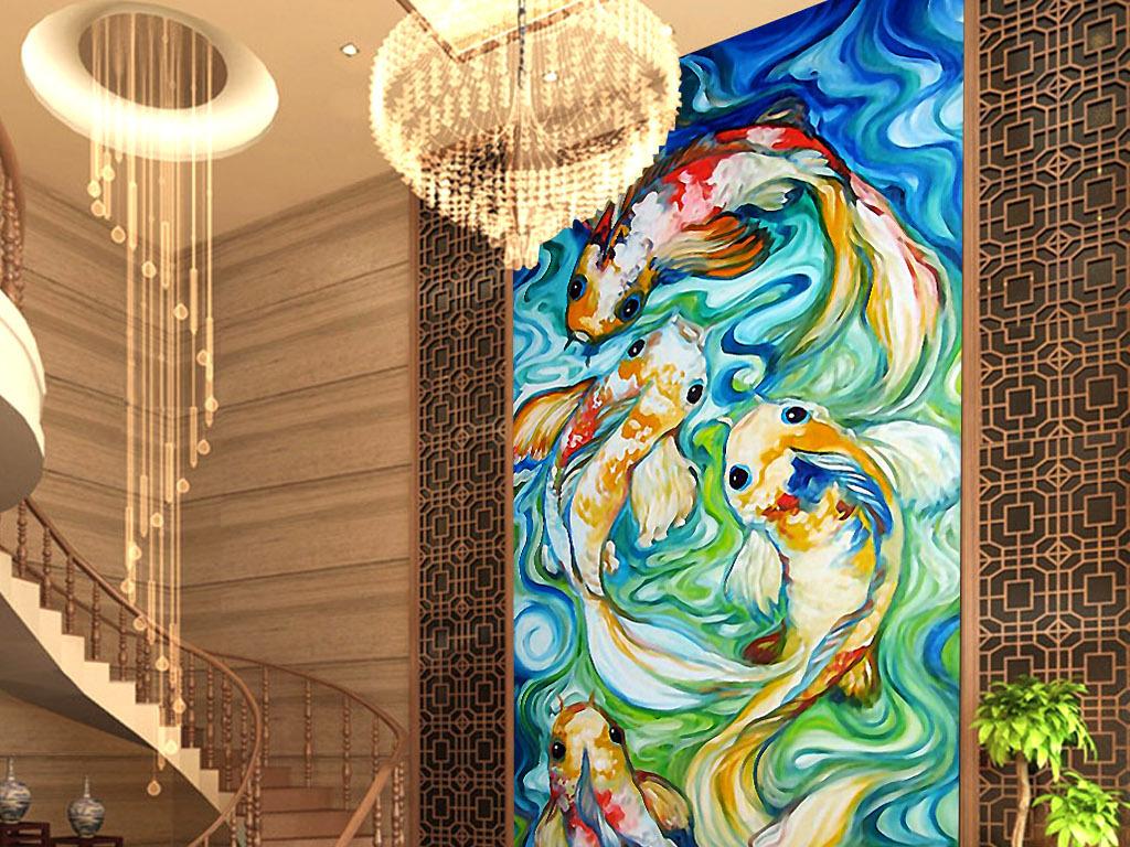 日式手绘手绘现代现代手绘锦鲤图荷花锦鲤锦鲤送福