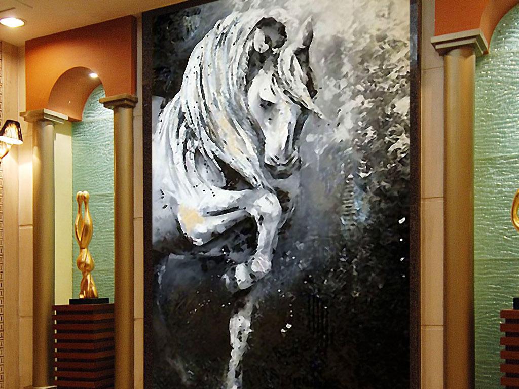 背景墙|装饰画 玄关 其他 > 白马英姿欧式现代印象派唯美意境玄关装饰图片
