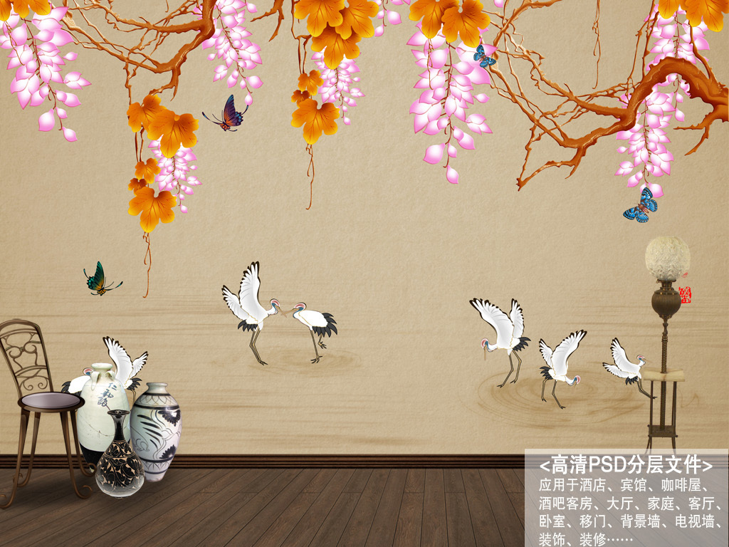 手绘新中式仙鹤紫气东来工笔花鸟画背景墙装饰画