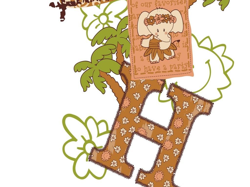 卡通动物图案树木英文字体