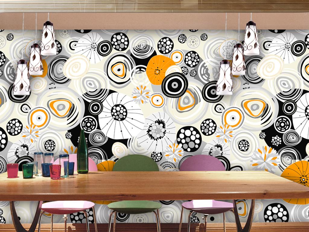 现代时尚素雅手绘几何图形工装背景墙