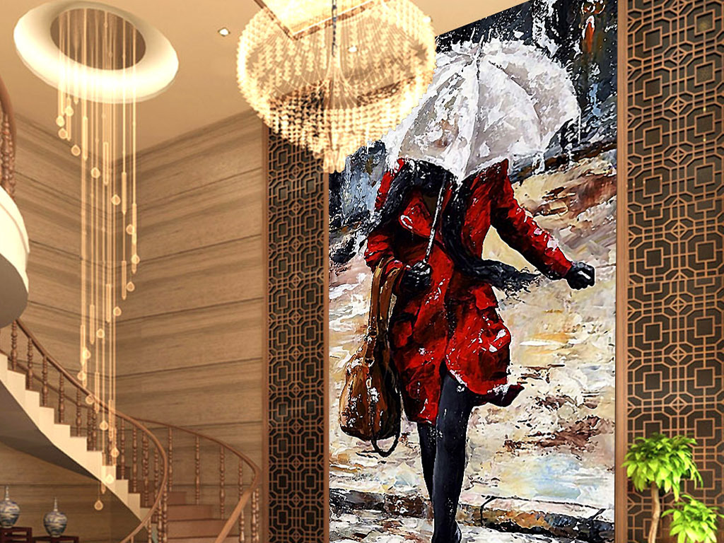 雨中依然性感美女欧美欧式现代时尚玄关壁画