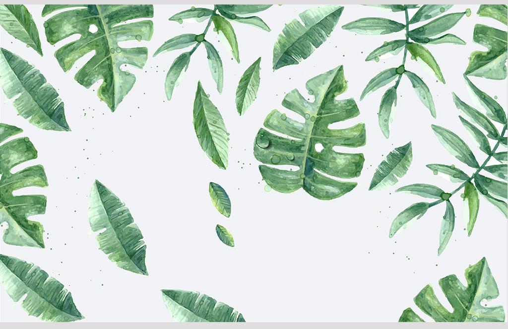现代简约自然叶子水彩手绘背景墙