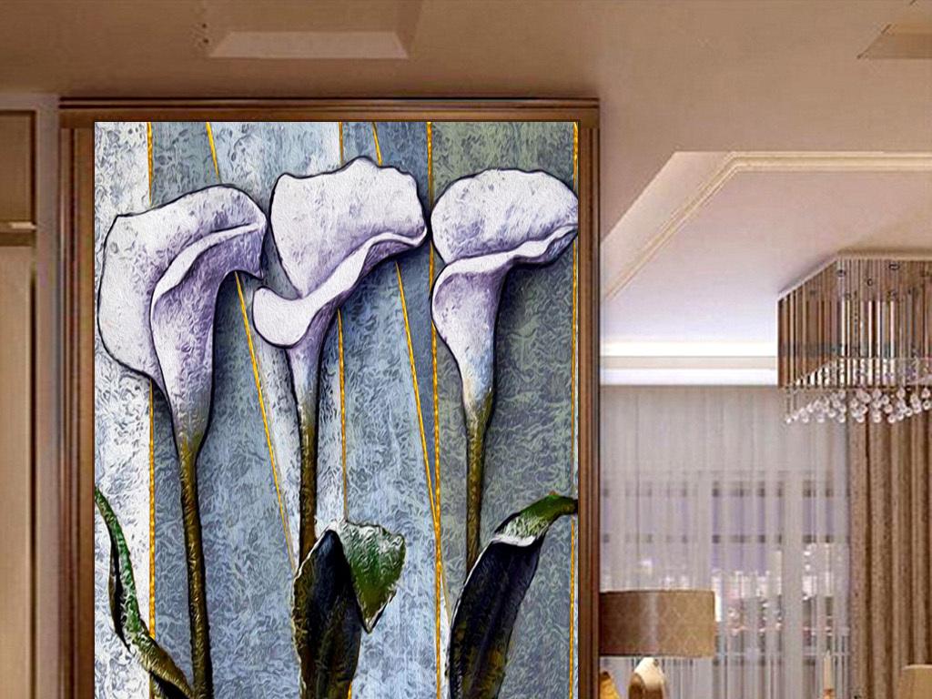 手绘立体花卉油画玄关壁画图片