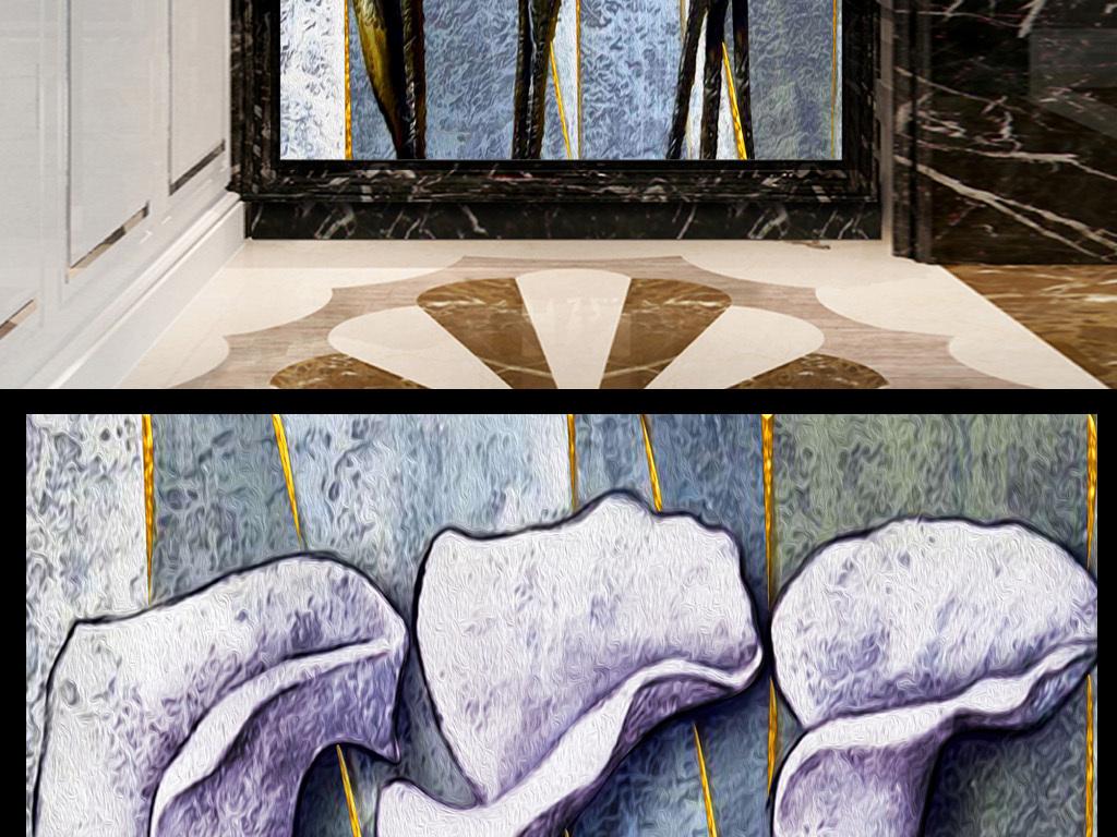 手绘立体花卉油画玄关壁画