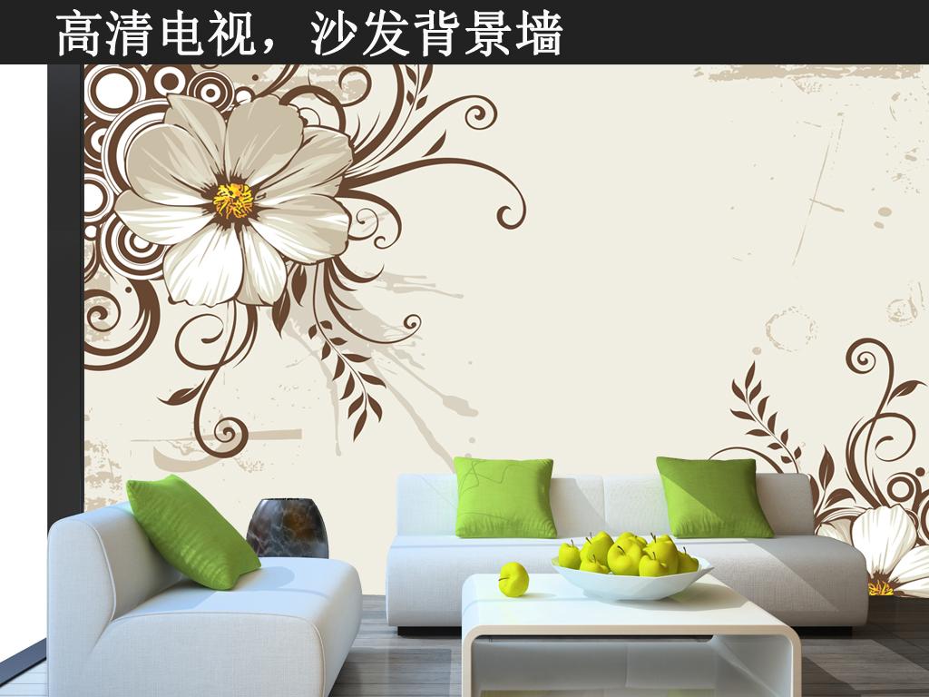 现代简约黑白花卉电视背景墙
