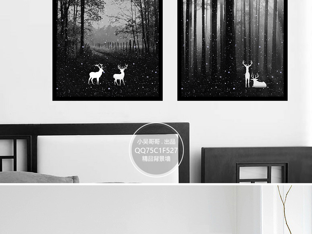 欧式装饰画黑白手绘油画纹理麋鹿森林麋鹿唯美意境唯