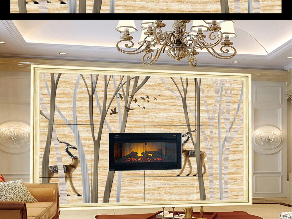 梅花鹿抽象手绘树林电视背景墙