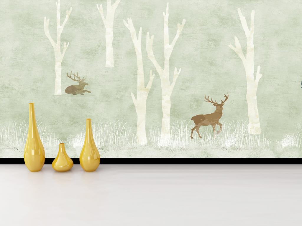 手绘现代简约北欧素雅背景墙装饰画