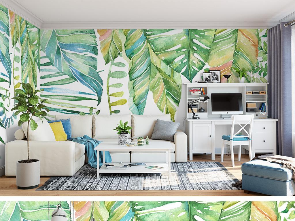 手绘水彩热带雨林背景墙