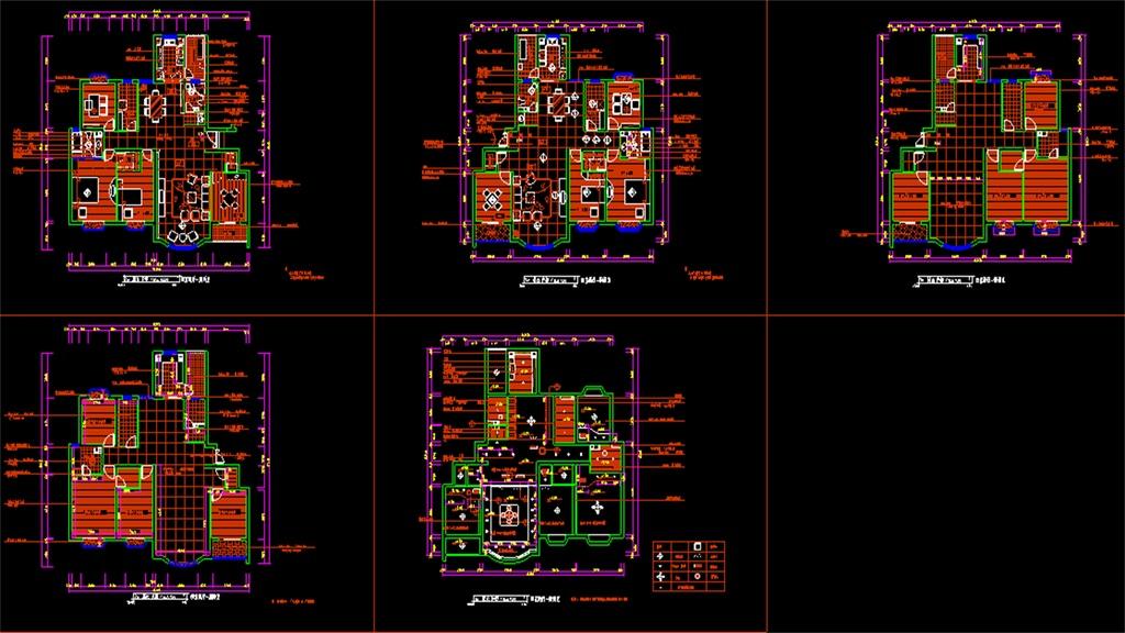 四室两厅CAD户型装修平面图