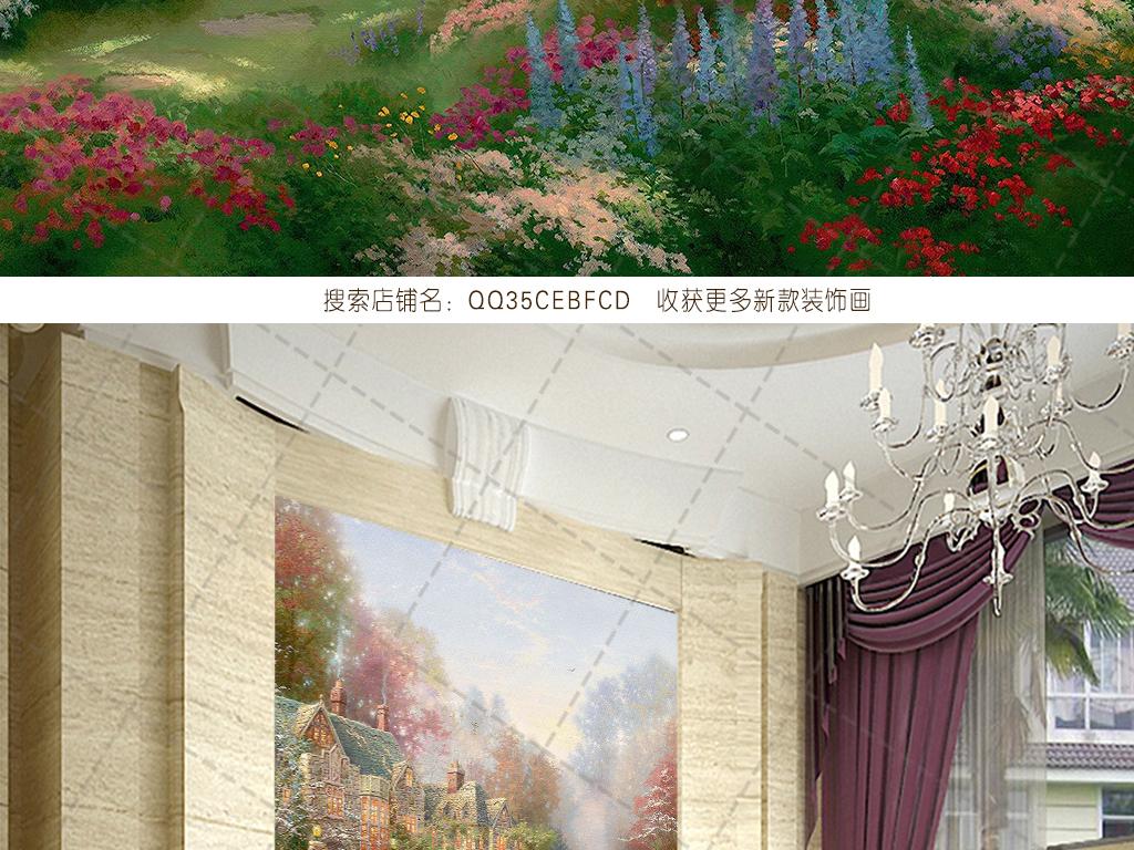 手绘院子墙壁画