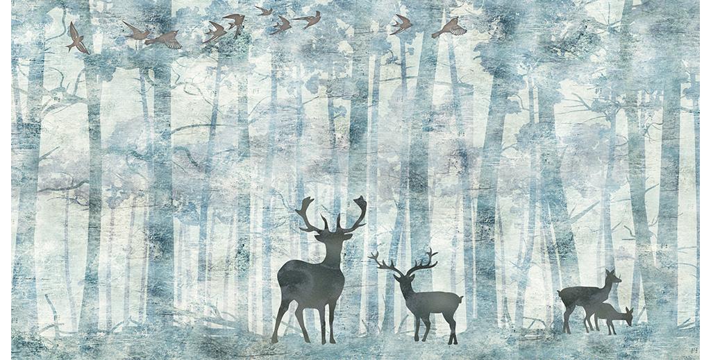 麋鹿森林手绘电视背景墙壁画