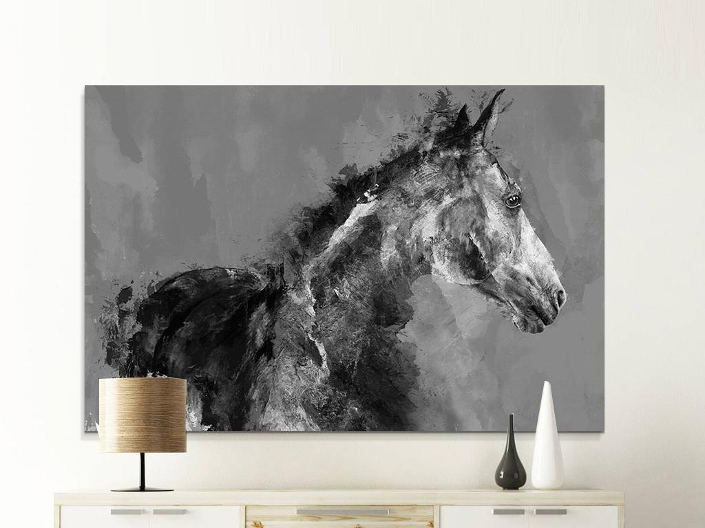复古客厅背景墙动物马骏马黑白装饰画无框画