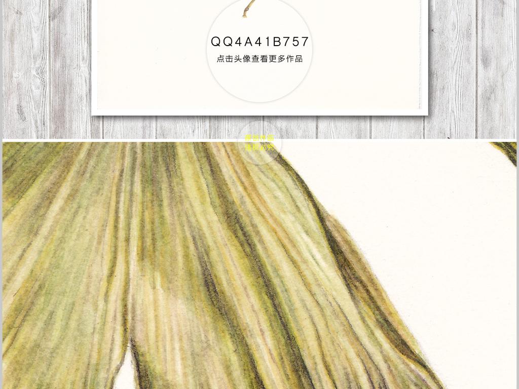 芭蕉叶小清新植物水彩水墨油画现代艺术艺术手绘艺术银杏叶手绘简约简