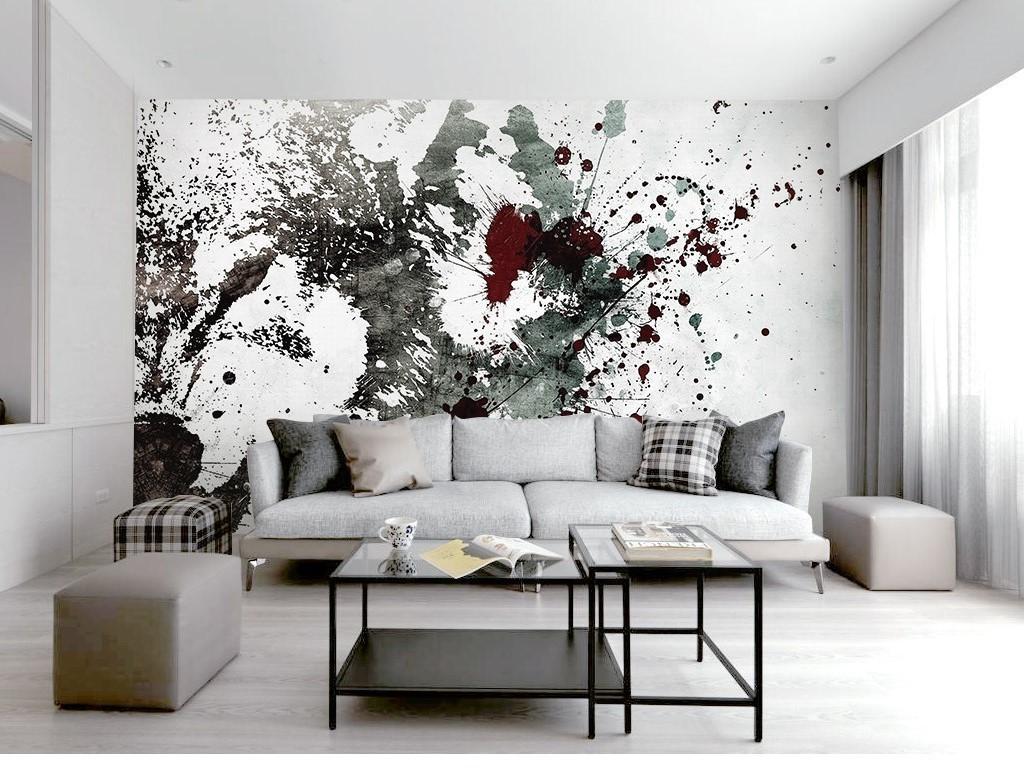 抽象纹理图案喷溅效果北欧个性电视背景墙图片
