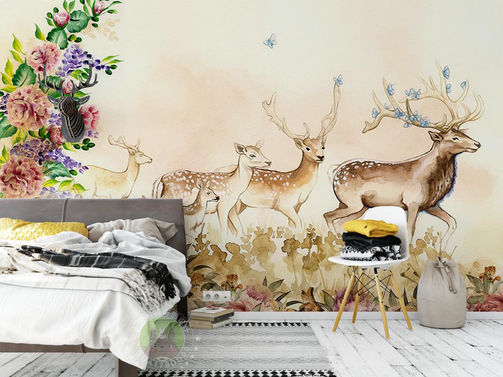 北欧手绘花卉麋鹿电视背景墙