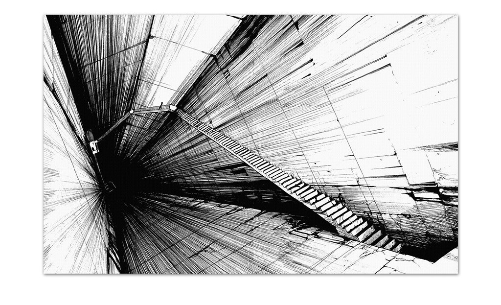 时尚炫酷黑白透视线条放射走廊电视背景墙