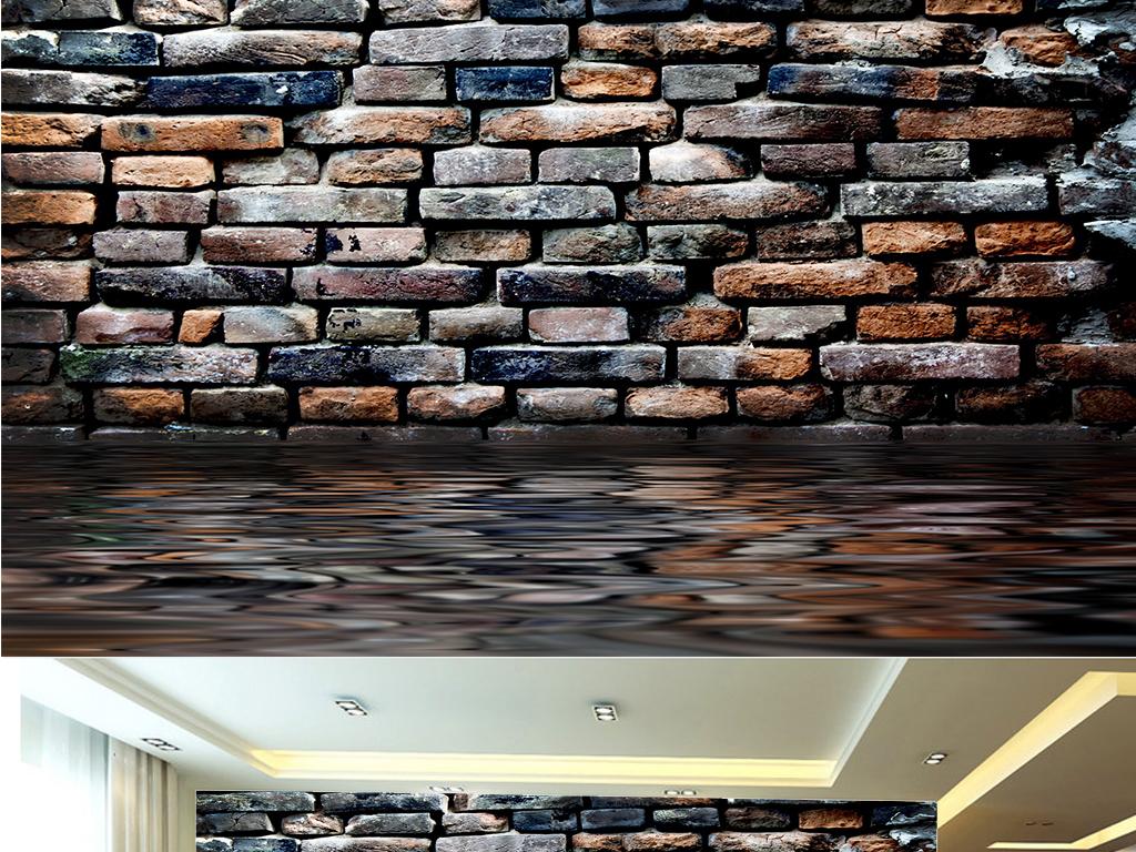 3d立体复古怀旧砖墙墙纸壁纸背景墙(图片编号:)_中式图片
