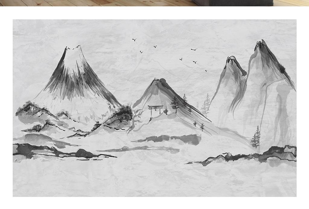 中国风手绘背景墙涂鸦墙画墙纸壁纸北欧装饰画北欧背景手绘背景手绘艺