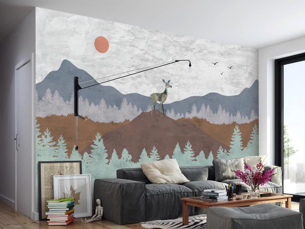 手绘北欧艺术背景墙装饰画(图片编号:16108300)