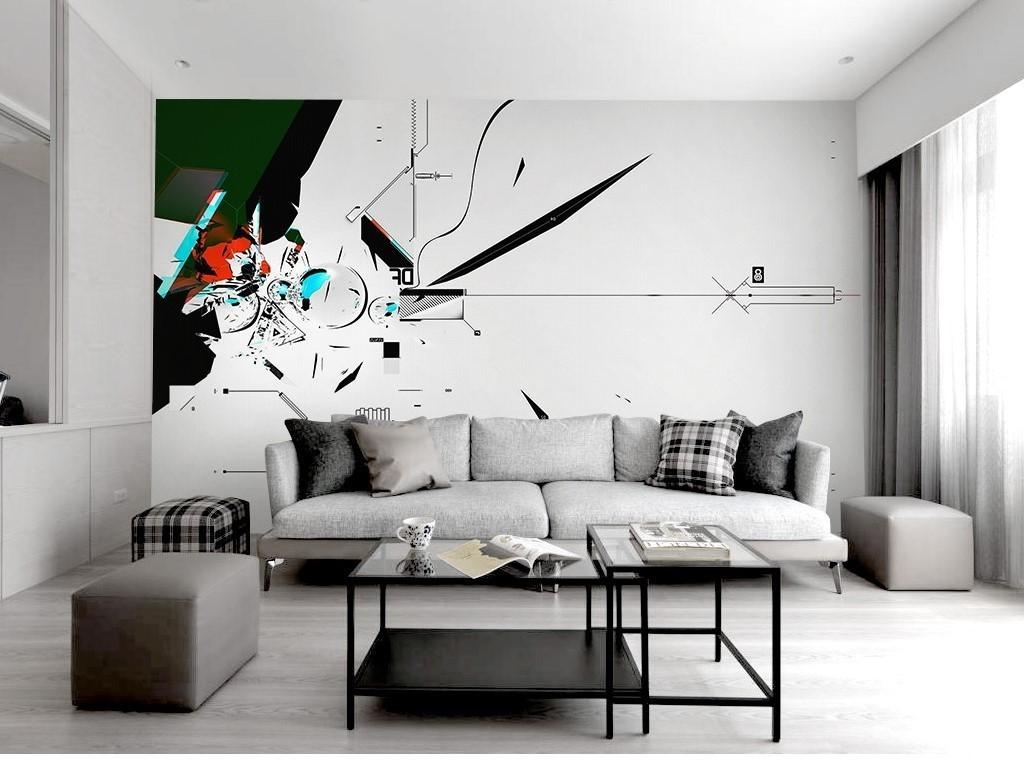 时尚简约线条工业风黑白北欧电视背景墙