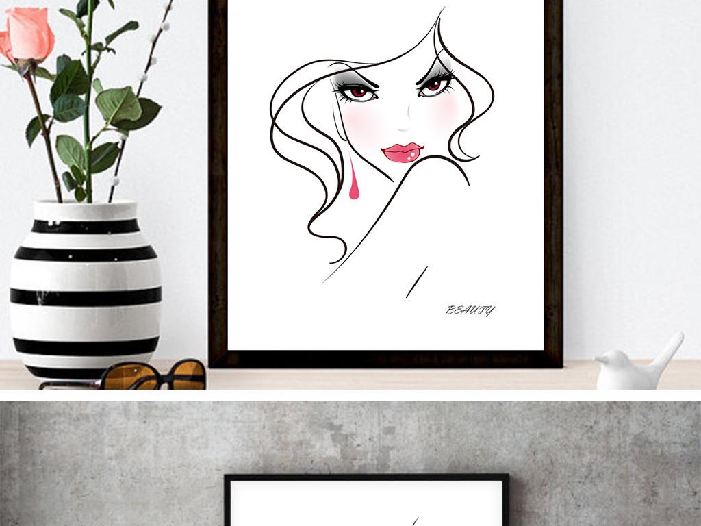 现代简约线条手绘美女无框画