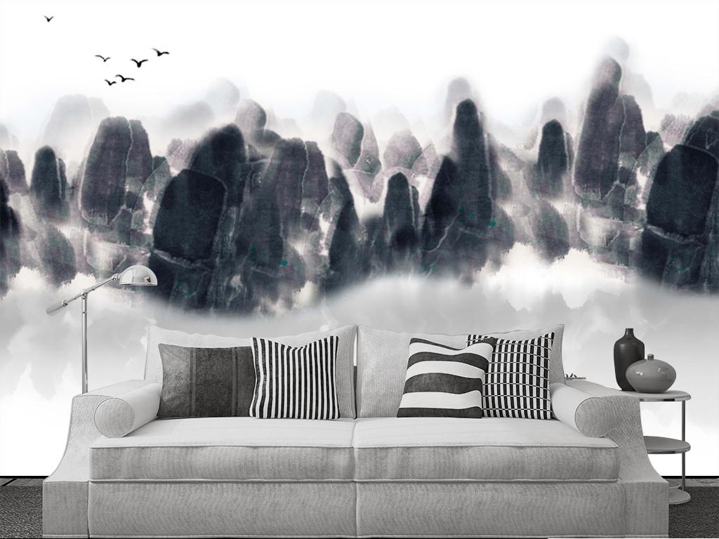 新中式意境水墨山水手绘背景墙装饰画