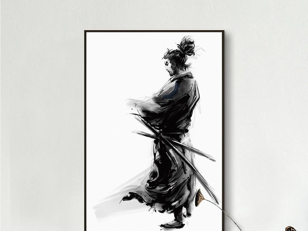 背景墙|装饰画 无框画 人物无框画 > 古代佩刀武士侠客新中式日式黑白