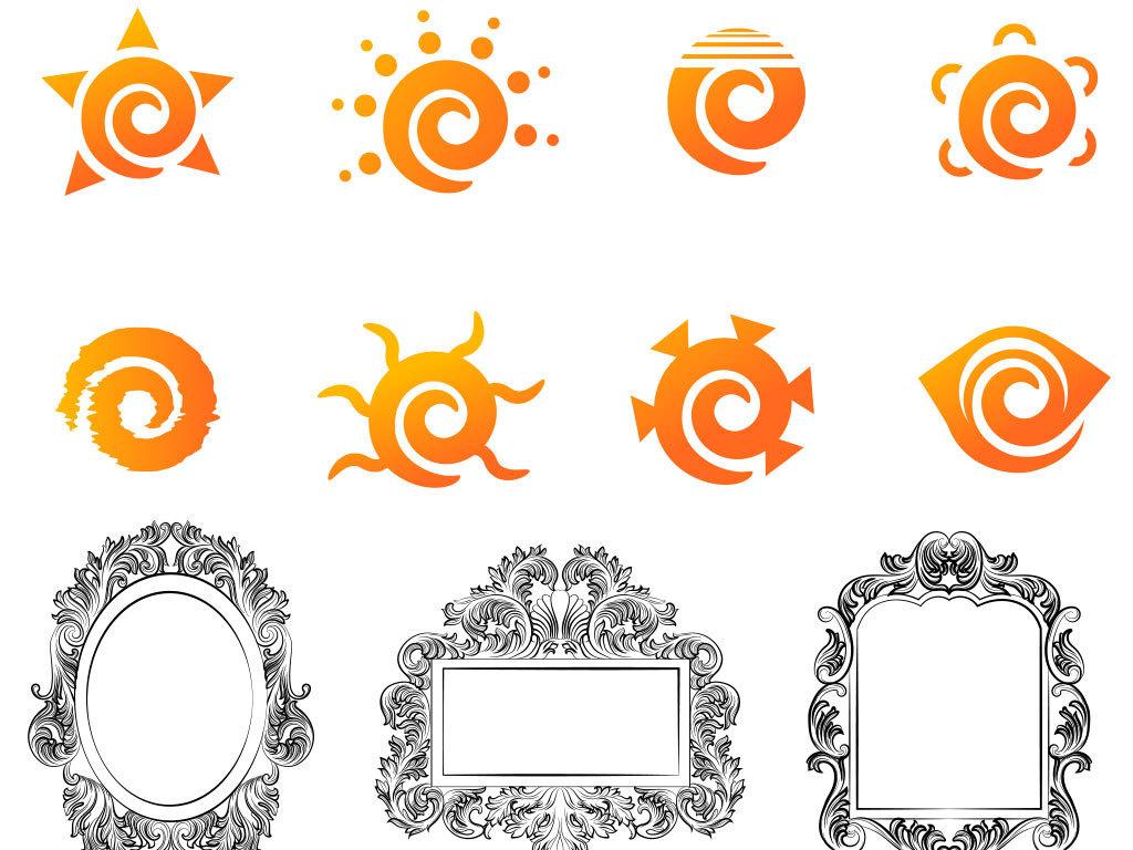 卡通太阳边框花纹设计矢量图