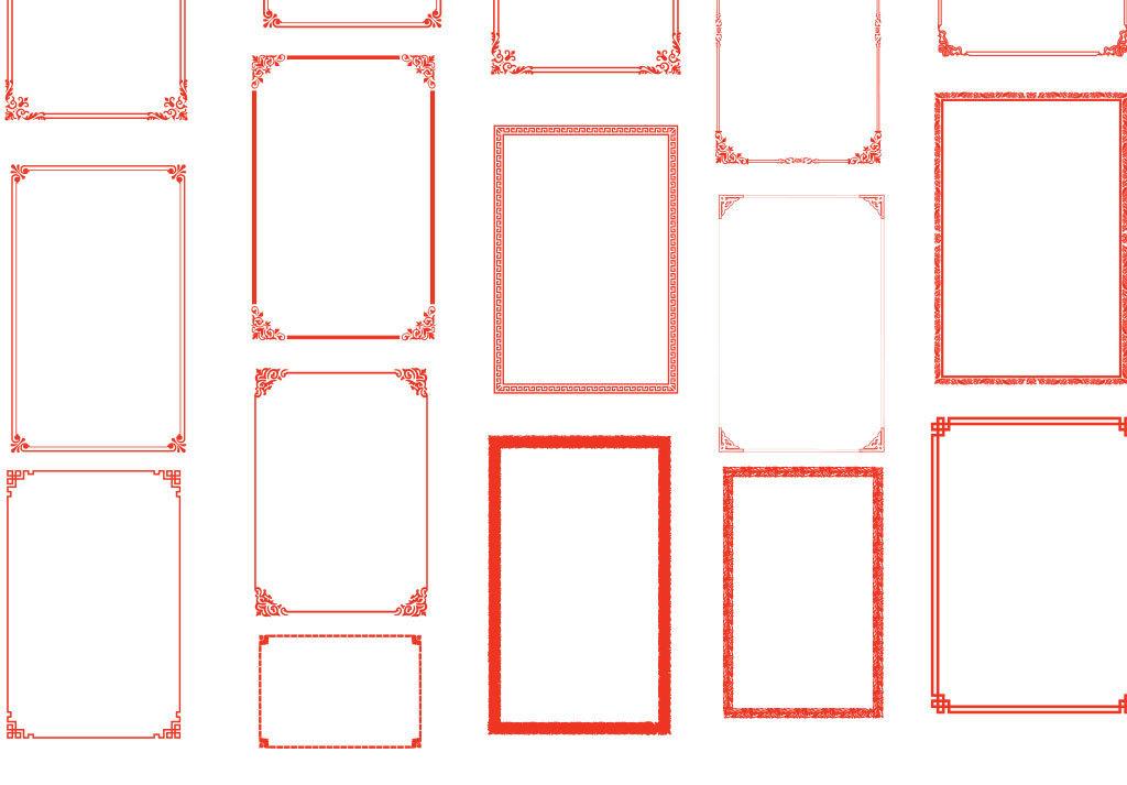 卡通红色中国风边框设计矢量图