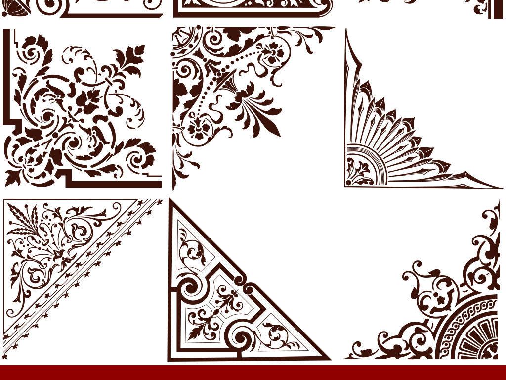 欧式古典边框边角设计矢量图