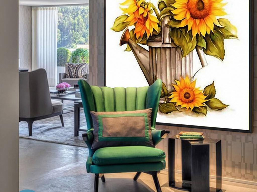 洒水壶向日葵手绘欧式现代北欧清新装饰画