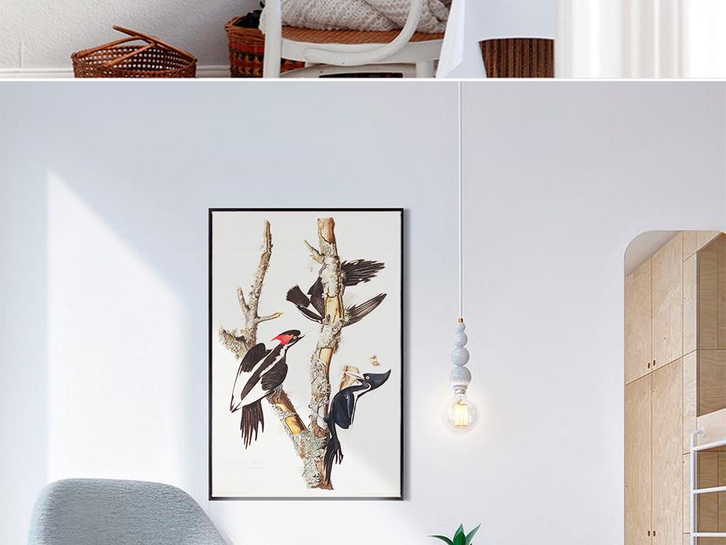 手绘树枝小鸟装饰画 位图, rgb格式高清大图,使用软件为 photoshop