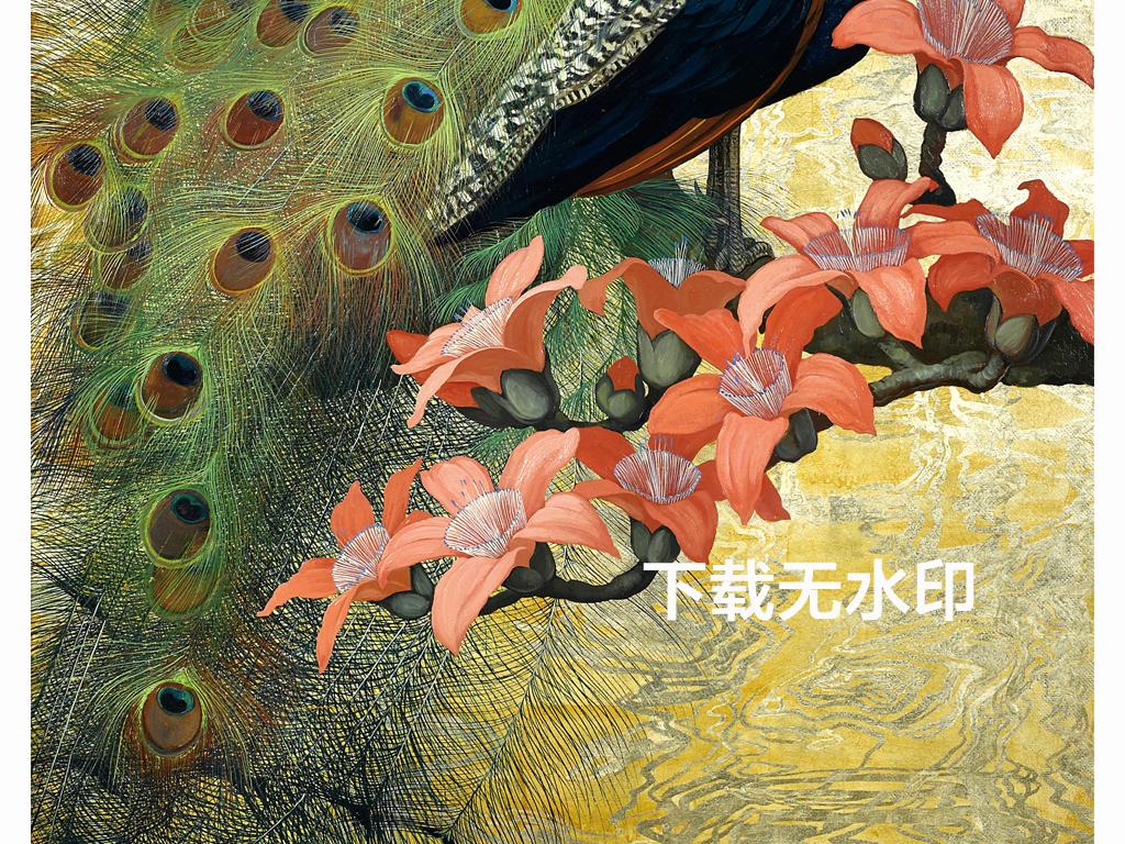欧式复古孔雀油画装饰画6(图片编号:16109522)