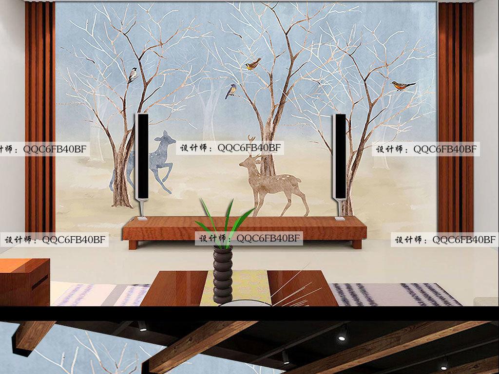 手绘工装森林麋鹿图